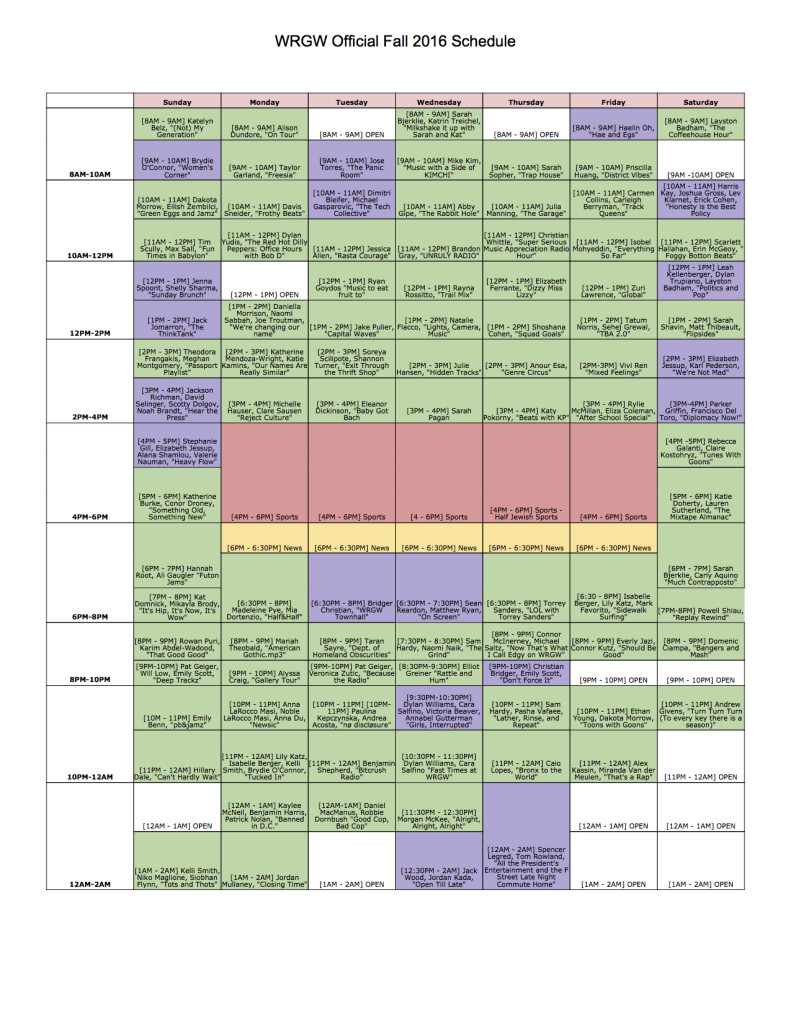 WRGW Official Fall 2016 Schedule