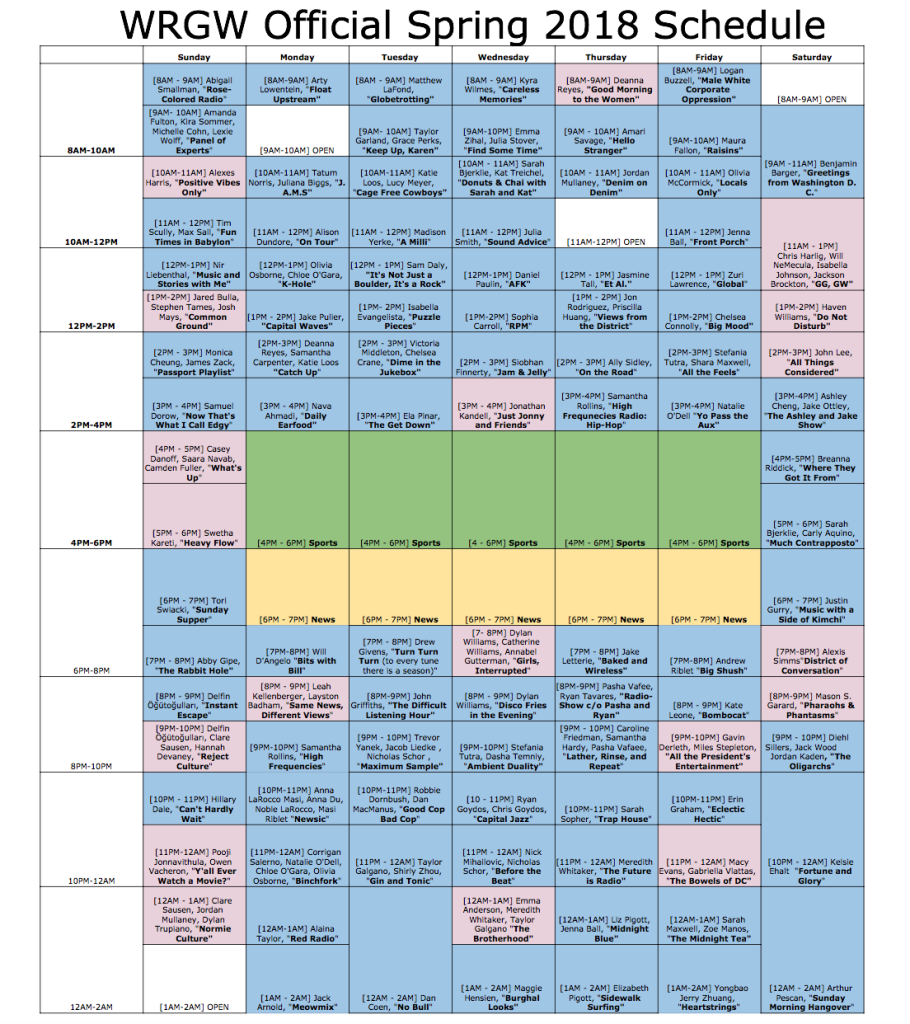 WRGW Official Spring 2018 Schedule